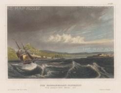 "Meyer: Dardanelles. 1857. A hand coloured original antique steel engraving. 6"" x 4"". [TKYp1322]"