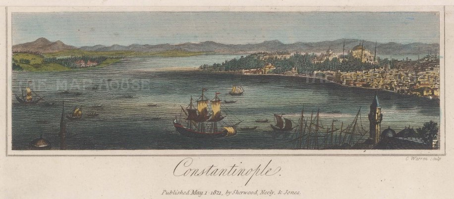 "Smith, Neely & Jones: Istanbul. 1812. A hand coloured original antique steel engraving. 6"" x 5"". [TKYp1325]"