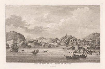 """de Choiseul-Gouffier: Chesme. 1782. An original antique copper engraving. 15"""" x 10"""". [TKYp1333]"""