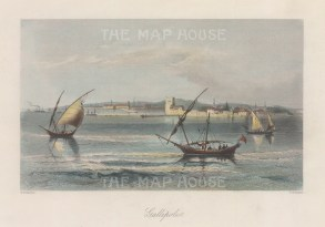 "Bartlett: Gallipoli. 1838. A hand coloured original antique steel engraving. 8"" x 5"". [TKYp1343]"