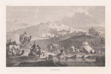 """de Choiseul-Gouffier: Caravan. 1782. An original antique copper engraving. 15"""" x 10"""". [TKYp968]"""