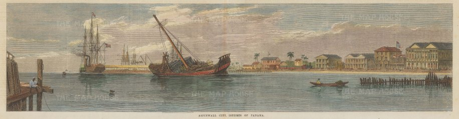 "Illustrated London News: Colon, Panama. 1866. A hand coloured original antique wood engraving. 20"" x 6"". [CAMp182]"