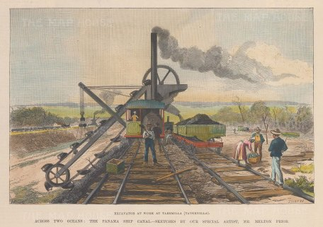 """Illustrated London News: Panama Canal, Panama. 1888. A hand coloured original antique wood engraving. 10"""" x 7"""". [CAMp185]"""