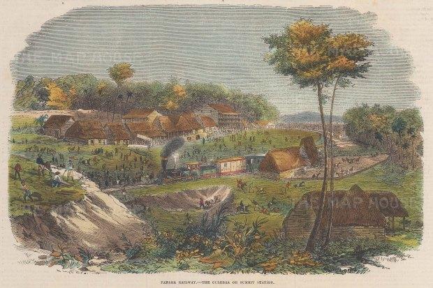 "Illustrated London News: Culebra Station, Panama. 1855. A hand coloured original antique wood engraving. 10"" x 6"". [CAMp210]"
