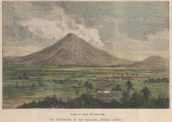 "Illustrated London News: Jilboa Valley, San Salvador. 1891. A hand coloured original antique wood engraving. 8"" x 6"". [CAMp213]"