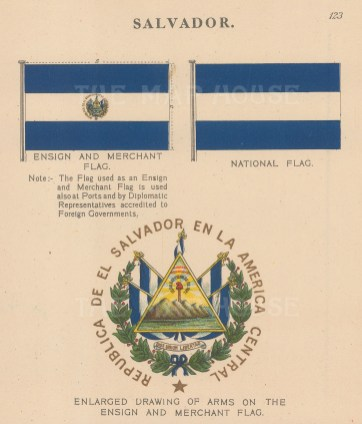 National, Ensign and Merchant flags with detail of coat of arms.