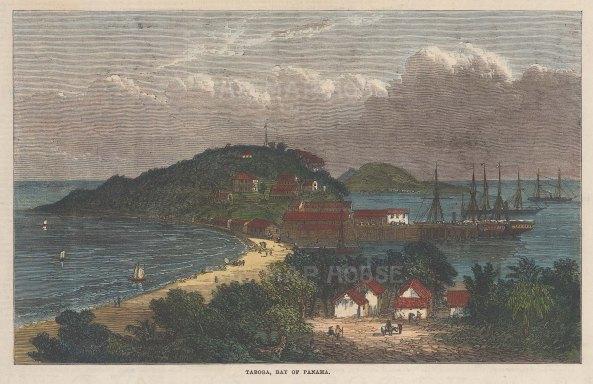 "Illustrated London News: Taboga Island, Gulf of Panama. 1870. A hand coloured original antique wood engraving. 10"" x 6"". [CAMp60]"