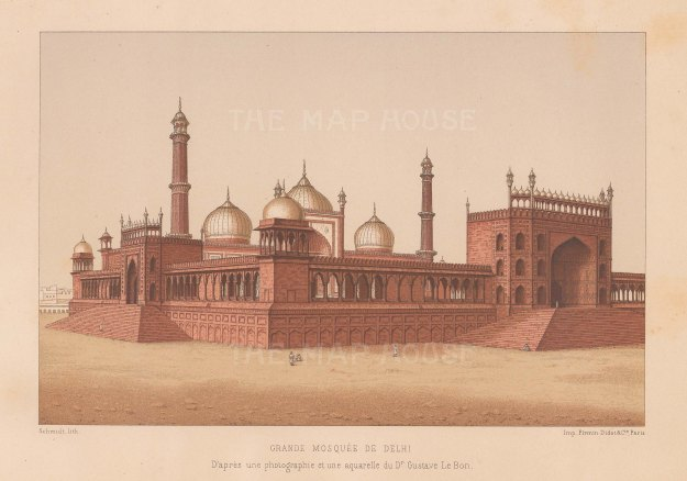 "Le Bon: Grande Mosque, Delhi. 1887 An original antique chromolithograph. 8"" x 6"". [INDp1556]"