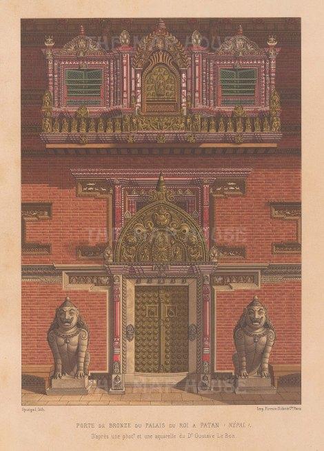 Nepal: Patan. Detail of the Bronze doors of the Royal Palace of Patan.