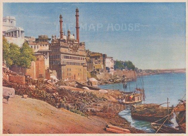 "Indian Times: Benares. c1910. An original antique chromolithograph. 7"" x 5"". [INDp1561]"