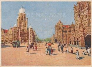 """Indian Times: Mumbai (Bombay). c1910. An original antique chromolithograph. 7"""" x 5"""". [INDp1566]"""