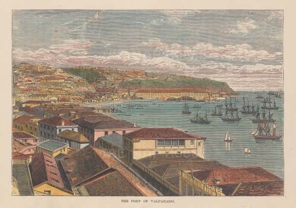 "Reclus: Valparaiso, Chile. 1894. A hand coloured original antique wood engraving. 7"" x 5"". [SAMp1473]"