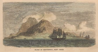 "Collins: Montserrat. c1870. A hand coloured original antique wood engraving. 7"" x 4"". [WINDp1029]"