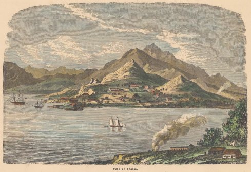 "Collins: Port of France, Martinique. c1880. A hand coloured original antique wood engraving. 10"" x 6"". [WINDp1084]"