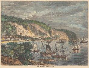 "Garnier: St. Pierre, Martinique. c1876. A hand coloured original antique wood engraving. 6"" x 4"". [WINDp1185]"