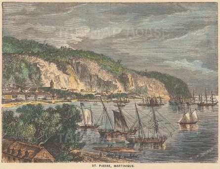 "Garnier: St. Pierre, Martinique. c1876. A hand coloured original antique wood engraving. 6"" x 4"". [WINDp1185]"