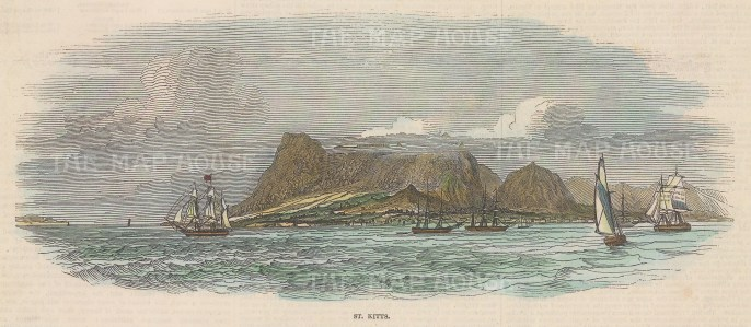 """Illustrated London News: St. Kitts. c1880. A hand coloured original antique wood engraving. 9"""" x 5"""". [WINDp1226]"""