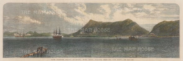 Cap-Haïtien. HMS Galatea shelling the forts. The ship was part of a number of successful actions in the French Revolutionary Wars.