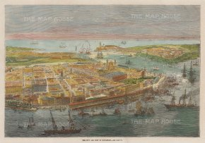 "Illustrated London News: Havana, Cuba. 1866. A hand coloured original antique wood engraving. 12"" x 9"". [WINDp1252]"