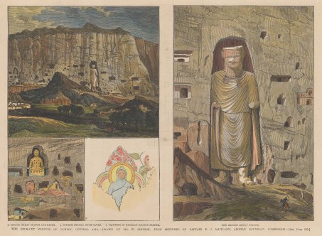 Bamiyan: View of the second Buddha and caves, with detail of the fourth and second statue, and niche painting.