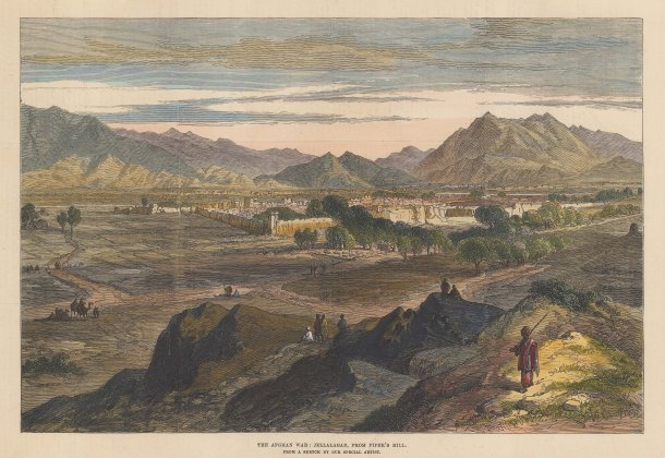 Jellalabad: Panoramic view from Piper's Hill of the military outpost. Second Anglo Afghan War.