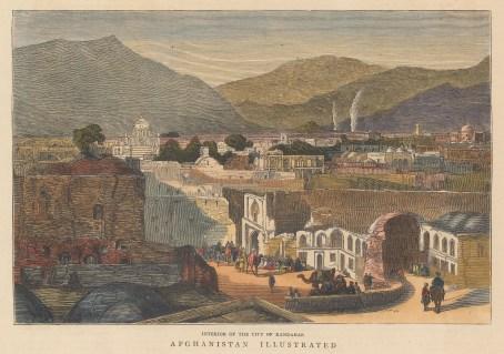 """Graphic Magazine: Kandahar. 1878. A hand coloured original antique wood engraving. 9"""" x 6"""". [AFGp165]"""