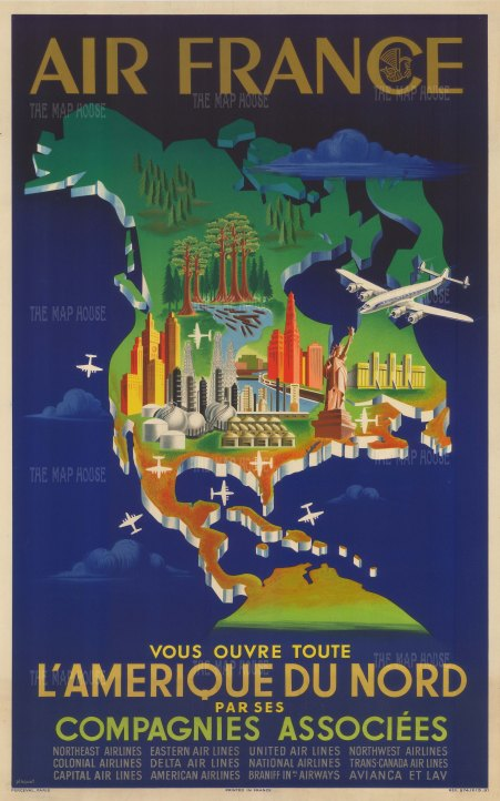 L'Amrique du Nord: Poster map of North America promoting Air France, and its partnership with multiple American regional airlines. By the artist Plaquet.
