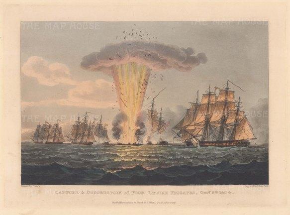 Capture and destruction of four Spanish Frigates 1804. Napoleonic Wars.