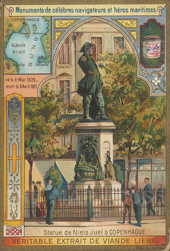 Statue of Admiral Niels Juel with inset map of Oresund.