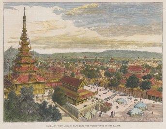 "Illustrated London News: Mandalay. 1886. A hand coloured original antique wood engraving. 7"" x 5"". [SEASp1750]"
