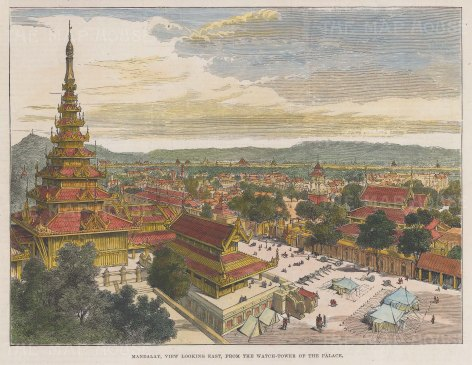 "Illustrated London News: Mandalay. 1886. A hand coloured original antique wood engraving. 7"" x 5"". [SEASp1750]"