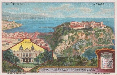 Monte Carlo: Vignette of the Monte Carlo Casino and panorama of the Monaco coast.