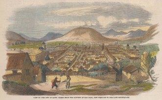 "Illustrated London News: Quito, Ecuador. 1859. A hand coloured original antique wood engraving. 10"" x 6"". [SAMp1046]"