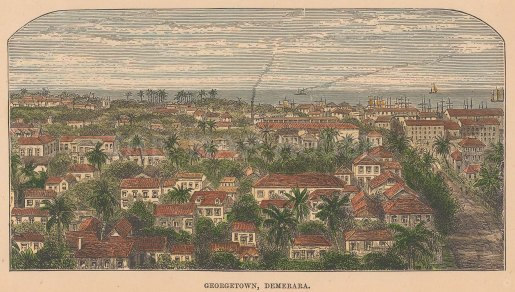 "Illustrated London News: Georgetown, Guyana. c1880. A hand coloured original antique wood engraving. 7"" x 4"". [SAMp1053]"