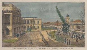 "Graphic Magazine: Georgetown, Guyana. 1885. A hand coloured original antique wood engraving. 9"" x 5"". [SAMp1129]"