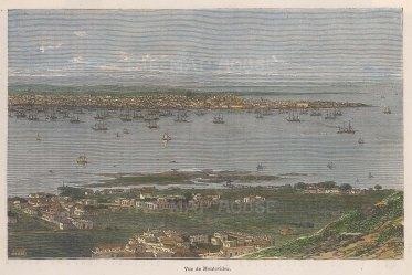 "Garnier: Montevideo, Uruguay. 1876. A hand coloured original antique wood engraving. 9"" x 6"". [SAMp1135]"