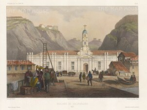 Chile. Valparaiso. View of the Customs House. After Barthélemy Lauvergne, artist on the voyage of La Bonite 1836-7.