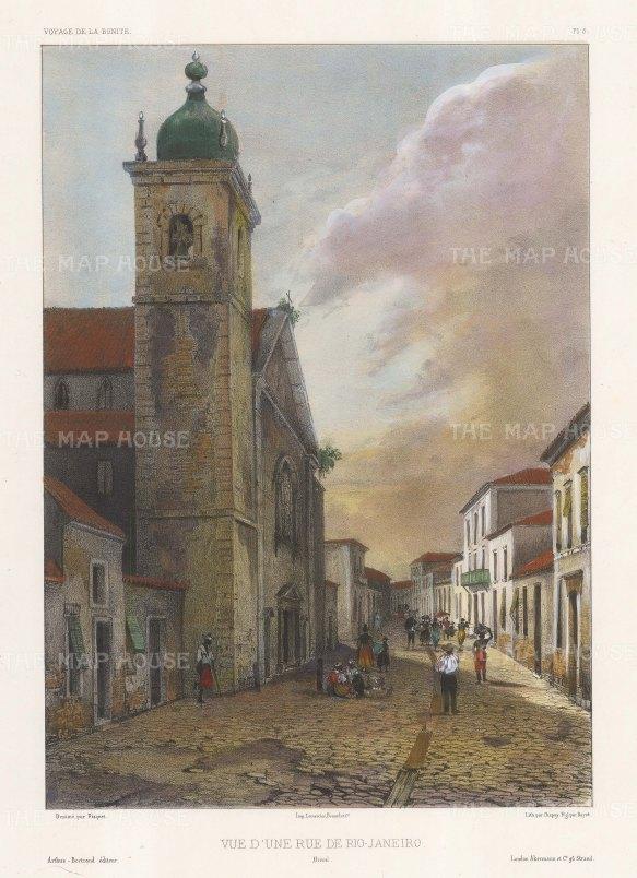 """Capt. Vaillant: Rio de Janeiro. c1850. A hand coloured original antique lithograph. 9"""" x 13"""". [SAMp1290]"""