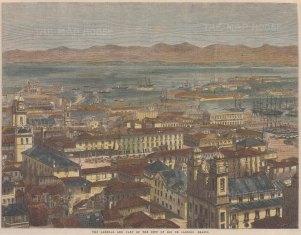 """Illustrated London News: Rio de Janeiro. 1865. A hand coloured original antique wood engraving. 13"""" x 10"""". [SAMp1350]"""
