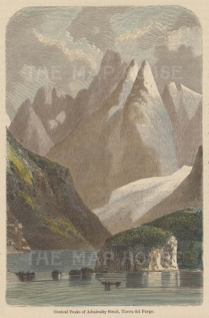 "Blackie & Son: Tierra del Fuego, Argentina. 1888. A hand coloured original antique wood engraving. 5"" x 7"". [SAMp1357]"