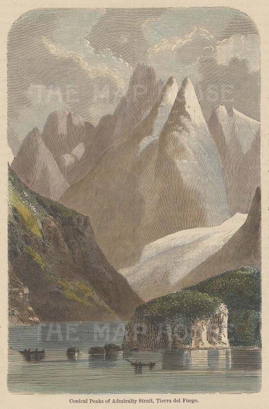 """Blackie & Son: Tierra del Fuego, Argentina. 1888. A hand coloured original antique wood engraving. 5"""" x 7"""". [SAMp1357]"""