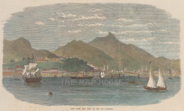 "Illustrated London News: Rio de Janeiro. 1864. A hand coloured original antique wood engraving. 10"" x 6"". [SAMp1362]"