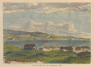 "Brown: Valparaiso, Chile. 1885. A hand coloured original antique wood engraving. 7"" x 4"". [SAMp1411]"
