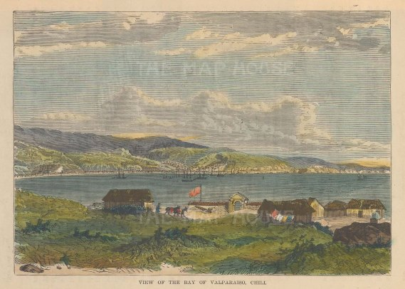 "Brown: Valparaiso, Chile. 1885. A hand coloured original antique wood engraving. 7"" x 4"". [SAMp1411]"