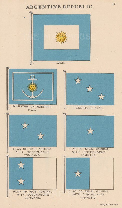 Jack and Minister of Marine's flags with Admiral, Rear and Vice-Admiral's flags.
