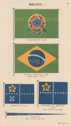President's flag and National, Ensign, Merchant and Admiralty flags.