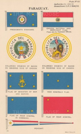 Ensign and President's Standard with national, merchant and military flags.