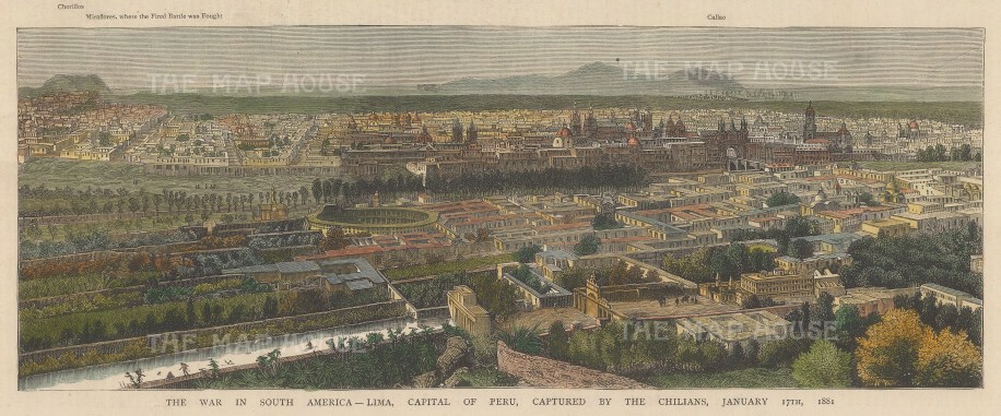 "Illustrated London News: Lima, Peru. 1881. A hand coloured original antique wood engraving. 14"" x 5"". [SAMp1464]"