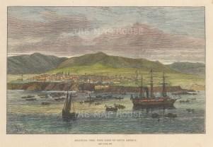 "Illustrated London News: Mollendo, Peru. 1865. A hand coloured original antique wood engraving. 9"" x 6"". [SAMp1465]"