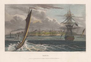 "Kelly: Bahia. c1840. A hand coloured original antique steel engraving. 8"" x 5"". [SAMp1483]"